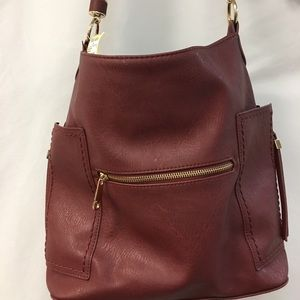 Red vegan leather purse